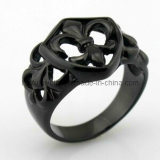 Black Plated Lasser Logo Religious Rings Stainless Steel