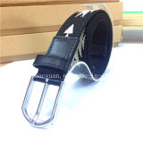 Fashion Jacquard Black and White Alloy Buckled Textile Belt Leather Accessories