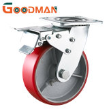 Rotating with Total Lock/Brake PU Wheel Double Ball Bearing Roller Bearing Heavy Duty Caster