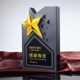 Golden Silvery and Cupreous Star Clear Transparent Glass Colorful Crystal Trophy Award Engraved with The White and Black Base