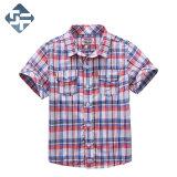 100% Combed Cotton Boy's Short Sleeve Shirt/Children's Yarn-Dyed Check Shirt
