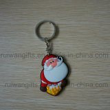 Wholesale Santa PVC Rubber 3D Keychain for Xmas Ornament