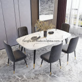 Restaurant Furniture Golden Plated Metal Legs Marble Extension Adjustable Dining Table