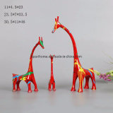 Red Tone Giraffe Family Figurines Home Accessories Decoration Crafts