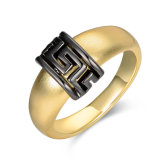 Black Greek Key Christmas Gift Artificial Gold Ring Jewelry