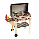 Modern Design Goumet Grill with Food Wooden Kitchen Toys