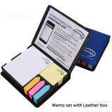 Colorful Sticky Paper Memo Holder in PU Box, Promotional Gift Memo Holder Set