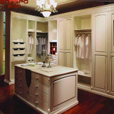 Mirrored Wood Closet Wardrobe with Louvered Door (GSP17-019)