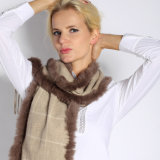 Fashion Cashmere Scarf with Fur for Women