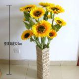 Artificial Silk Sunflowers Bouquet, 3 Heads, Flower Dia. 22cm, 18cm, 14cm, Wire Stem