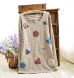 Knitted Cotton Lady Embroidered Casual Shirt Casual