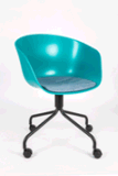 Office Chair with Plastic Back and PU Covered Foam Cushion