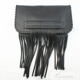 Ladies' Leather Fringed Clutch Hand Bag in Black