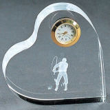Crystal Glass Heart Clock for Wedding Favor Gift