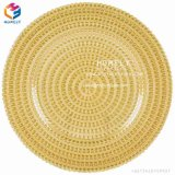 Cheap Bulk Hotel Wholesale Wedding Colorful Gold Silver Clear Steak Glass Charger Plate