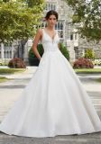Sexy Backless Wedding Gown Lace and Satin Ball Gown Bridal Wedding Dress