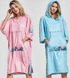Wholesale Custom Adult Hooded Change Surf Poncho Beach Towel Hoodie Cloak Towel