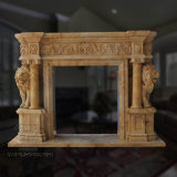 Two Yellow Lion Sculpture Marble Fireplace for Indoor Decoration (T-7340)