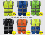 High Visibility Yellow Vest Blue Safety Vest Reflective Polyester Knitted Reflective Vest