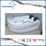 Corner ABS Board Whirlpool Massage Bathtub in White (AB0807)