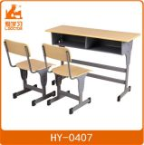 Adjustable School Furniture/Double Education Student Desk with Chair