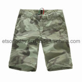 Green Camouflage Printed 100% Cotton Men′s Shorts (GD215)