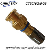 Male Coaxial Cable Compression CCTV BNC Plug for RG6 (CT5078G/RG6)