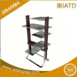 Stackable Stainless Metal Steel Floor Clothes Store Glass Shelving Display Stand Rack