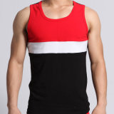 Mens Sleeveless Cotton Big Striped Fitness Hot Vest T Shirts Factory
