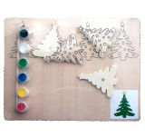 Wholesale Early Learning Christmas Tree Wooden Watercolor Painting Toy for Baby Drawing