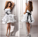 Short Tiered Bridal Gowns Organza Black Sash Wedding Dress Zb1816