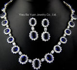 Classic Oval Bridal Jewelry Set, Sapphire Blue Wedding Cubic Zirconia Necklace Jewelry, Fashion CZ Jewelry, Fashion CZ Necklace, Bridal CZ Jewelry Set