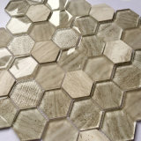 300X300mm Interior Decoration Bathroom Hexagonal Glass Mosaic Tile