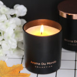 OEM/ODM Flameless Decoration Personalized Custom Black Glass Scented Candle with Rose Lids, Popular Fragrance Customized Luxurious Glass Jar Scented Candle