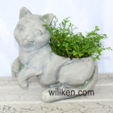 White Cat Shaped Flower Pot Decoration