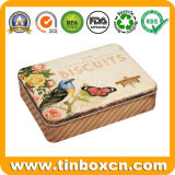 Custom Metal Can Gift Packing Rectangular Cookies Biscuits Tin Box