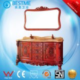 Double Marble Basin with Solid Wood Cabinet in China by-F8031
