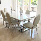 Modern Circle Chrome U Shape Base Solid Marble Dining Table Stainless Steel