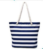 Hot Selling Stripe Canvas Beach Tote Bag Simple Women Tote Handbag