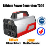 Portable Solar Powered Generator 500W 518wh Lithium Battery Backup Power Inverter for Camping
