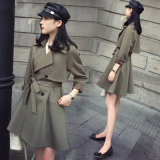 High Quality Fashion Women Long Coat Windbreaker Trench Coat