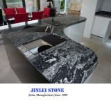 Luxury Natural New Sea Wave Worktop Nero Assoluto Black Granite/Stone, Nero Fantasy Granite Price for Floor and Kitchen Countertop
