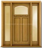 Craftsman Style Exterior Solid Wooden Door with Two Side Lites