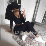 Sexy Ladies High Waist Long Sleeves T Shirt Tracksuits