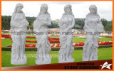 Four Season Gold Statues in White Carrara Marble