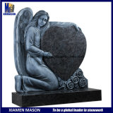Cheap Antique Weeping Angel Holding Heart Bahama Blue Granite Memorial