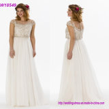 Quality Work Pretty A-Line Shape Cap Sleeves Applique Lace Sequins Wedding Dress