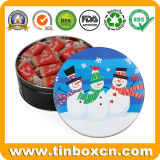 Round Christmas Chocolate Biscuit Tins for Metal Gift Packaging Box