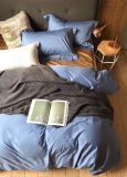 Plain Color 100%Cotton 4PCS Bedding Set (BLUE)