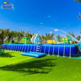 Popular Giant Floating Water Park Game Steel Frame Swim Pool Inflatable Pool for Adults and Children